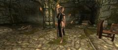 Leather Slit Dress and Gladiator Heels